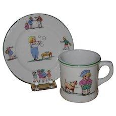 Shenango Child's Bread Plate and Mug, Story Book Motifs