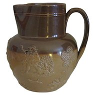 Doulton Lambeth Salt Glaze Hunting Scene Pitcher