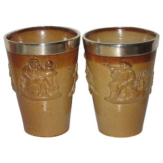 Two Antique Salt Glaze Tumblers, Bradbury & Henderson Silver Fittings