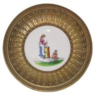Hand Painted Porcelain Plate, 19th Century Farm Girl and Baby, Rouposse Metal Bowl Frame