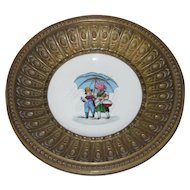 Hand Painted Porcelain Plate, Girl & Boy in the Rain, with Metal Bowl Frame