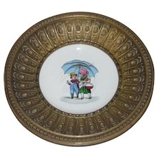 Metal Framed Bowl with Hand Painted Porcelain Center, Girl & Boy in the Rain