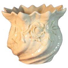 Irish Belleek Shell Vase, Applied Roses, Shamrocks, Second Green Mark