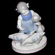 Gerold Porzellan Girl Feeding Geese Figurine