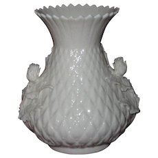 Irish Belleek Thistle Vase, Applied Thistle Flowers and Leaves, 2nd Green Mark