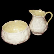 Irish Belleek Small Floral Creamer and Sugar Bowl, White on White Flowers