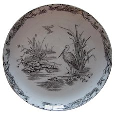Aesthetic Movement Wetland Scene, Antique Staffordshire Plate, Transfer in Black on White