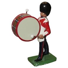 W. Britain Cast Metal Royal Grenadier Marching Bass Drummer