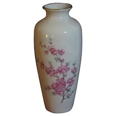 Pickard Hand Decorated Vase, Apple Blossoms on White Porcelain, Gold Edging