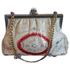 Italian Tooled Kid Leather Handbag, White, Red & Gold Stamped, with Aqua Rhinestones