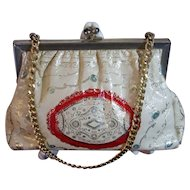 Italian White Kid Leather Vintage Tooled Handbag