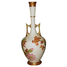 Royal Worcester Blush Ivory Pipe Stem Bud Vase with Handles, HP Flowers – As Is