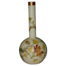 Royal Worcester Long Stem Bud Vase, Hand Painted Flowers, 1891 Blush Ivory