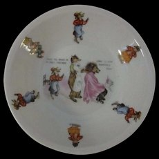 Antique German Nursery Rhyme Bowl with Whimsical Illustrations, Fox & Lion