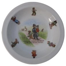 19th Century German Porcelain Nursery Rhyme Bowl, Policeman Dog