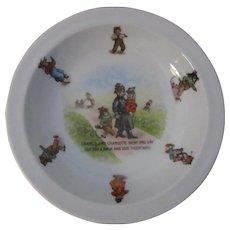 19th Century German Porcelain Nursery Rhyme Bowl, Policeman Dog