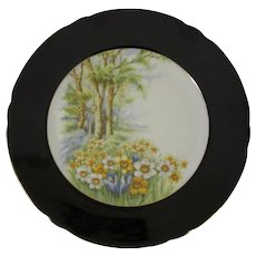 Shelley Porcelain 'Daffodil Time' Cake Plate, Black Border