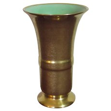 Pickard All Over Gold and Mint Green Vase