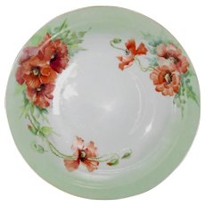 Hand Painted Poppies, Antique Serving Bowl, Jaeger and Co.