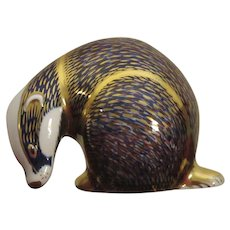 Royal Crown Derby Badger Paperweight Figurine, Imari Styling