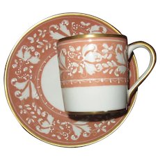 Atelier Le Tallec Demitasse, Cup and Saucer Set, in Peach and White