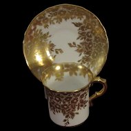 Hammersley Gold Enamel Demitasse, Cup and Saucer