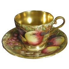 Aynsley Hand Painted Demitasse with Pedestal, Orchard Gold Pattern Signed by Artist N. Brunt
