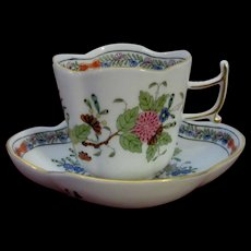 Herend Quatrefoil Demitasse and Saucer, Indian Basket Pattern