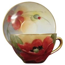 Schumann Demitasse Set, Hand Painted Red Poppies, Signed