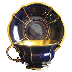 Dramatic Lindner, Bavaria Cobalt and Gold Demitasse Set