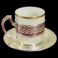Wilhelm Binder, German 800 Sterling Silver Espresso Cup and Saucer Set; Gold Trimmed Eggshell Porcelain