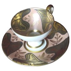 Moderne Demitasse Pedestal Cup and Saucer, Johann Seltmann Vohenstrauss