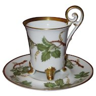 "Four-Footed Demitasse Cup and Saucer Set; Grape Ivy & Curled ""Bird"" Handle, Hackefors Porslin, Sweden"