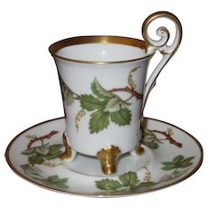 """Four-Footed Demitasse Cup and Saucer Set; Grape Ivy & Curled """"Bird"""" Handle, Hackefors Porslin, Sweden"""