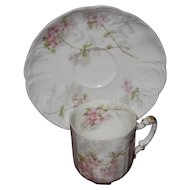 Haviland, Limoges Antique Eggshell Porcelain Demitasse Set, Pink Apple Blossoms