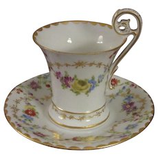T & V Limoges Handpainted Chocolate Cup (or Demitasse Set) with Bird Handle