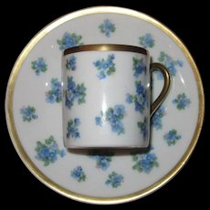 Beyer & Bock Demitasse, Cup and Saucer, Forget-Me- Nots