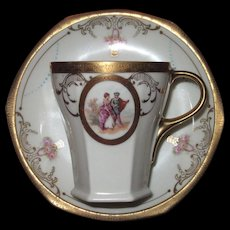 Pictorial Cartouches Chocolate Cup and Saucer, MZ, Moritz Zdekauer