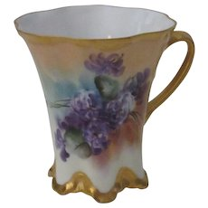 Haviland Limoges Chocolate Cup, Hand Painted African Violets