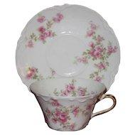 Translucent Haviland Limoges Bell-Shaped Demitasse Cup and Saucer Set, Roses