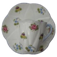 Shelley Demitasse Set, Dainty Form; Rose, Pansy Forget-Me-Not Pattern