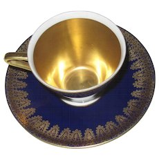Vintage Cobalt and Gold Demitasse Set, Cup and Saucer, Royal Porzellan, Bavaria