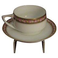 Rosenthal Donatello Demitasse, Cup and Saucer, Gold and Pink Roses