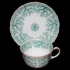 Dainty Furstenberg Demitasse Set in Green on White, Park Lane Pattern