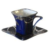 Square Espresso Cup and Saucer, Cobalt Blue with Silver Enamel, Victoria Austria