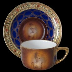 Czechoslovakian Demitasse Set, Art Deco Design with Portrait Cartouches