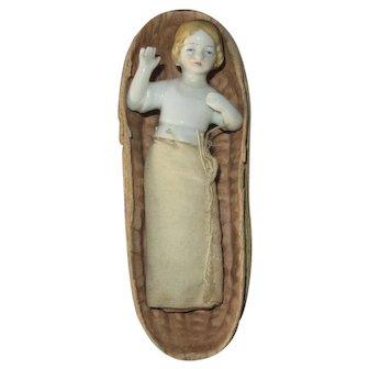 Unusual German Half Doll Baby in a Peanut Shell Box