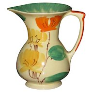 Myott Art Deco Hand Painted Wide Mouth Jug, As Is