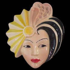 Dorothy Ann Crown Derby Hand Painted Wall Mask Signed by Artist, 1930s