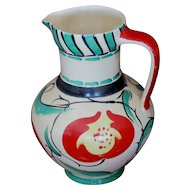 Myott 1930s Art Deco Hand Painted Classical Jug, Red Tulips